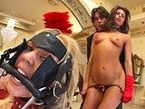 adržanec si tvrdo užíva s dominou a jej otrokýňami - freevideo